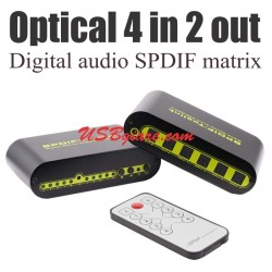 Digital Audio SPDIF fiber Optical matrix 4 in 2 out