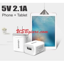 Cóc sạc 5V 2.1A sạc Phone + Tablet Usams US-CC017