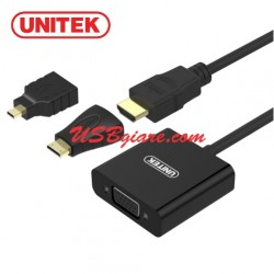 Cáp HDMI to VGA (+micro, mini HDMI adapter) 3 in 1 Unitek Y-6355