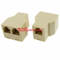 1 to 2 ADSL RJ11 Female Phone Splitter Adapter
