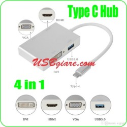 Hub USB 3.1 Type C sang HDMI VGA DVI USB 3.0 4 in 1
