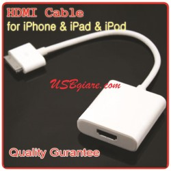 IPOD, IPHONE, IPAD TO HDMI - TIVI OUT CABLE FOR IPAD, IPHONE, IPOD