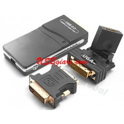 BỘ CHUYỂN USB SANG VGA DVI HDMI - USB TO UGA 2.0 MULTI DISPLAY ADAPTER